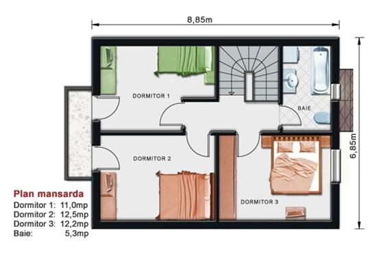 Proiecte case mici cu mansarda 2-011