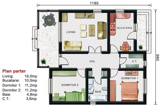 Model de casa parter 2 019 for Proiect casa 2 camere living baie si bucatarie