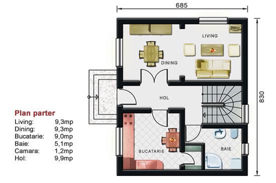Proiect de casa mica cu etaj for Proiect casa 2 camere living baie si bucatarie
