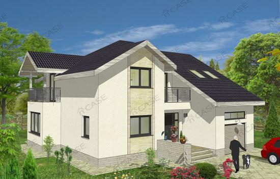 Casa cu mansarda si garaj cod 3 010 magazin online for Proiecte case cu garaj si mansarda
